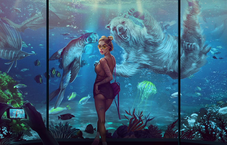 Photo wallpaper Fish, Girl, Photo, Aquarium, Medusa, Bear, Cat, Animals, Art, Phone, Figure, Beautiful, Posing, Smartphone, Foto …