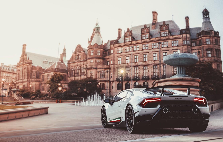 Photo wallpaper Auto, The city, Lamborghini, White, Machine, Huracan, Lamborghini Huracan, Transport & Vehicles, by Giacomo Geroldi, …