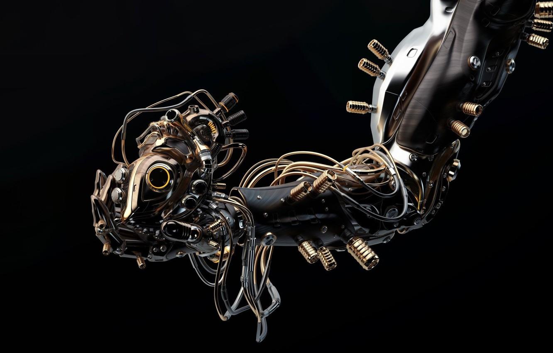 Photo wallpaper fiction, robot, hand, art, heart, Vladislav Ociacia, Robotic hand holds artificial heart These image