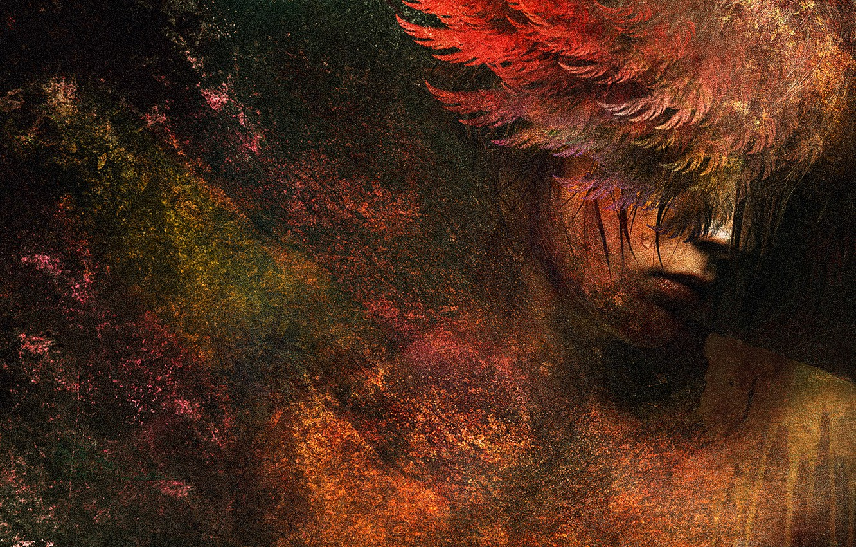 Photo wallpaper colors, colorful, digital, woman, art, wings, angel, painting, sad girl, sad angel