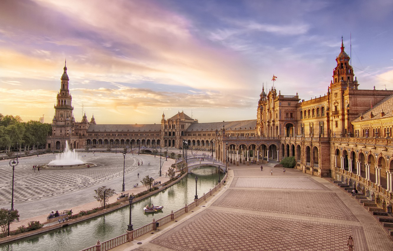 Photo wallpaper building, area, fountain, Spain, Seville