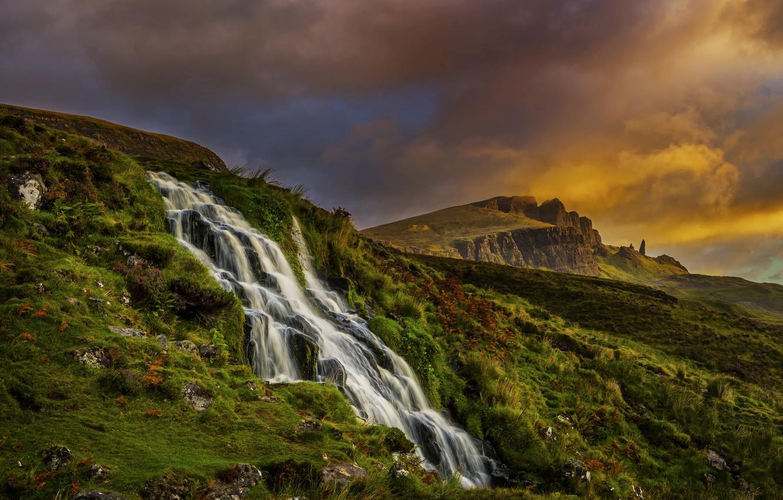 Photo wallpaper clouds, landscape, mountains, nature, waterfall, morning, Scotland