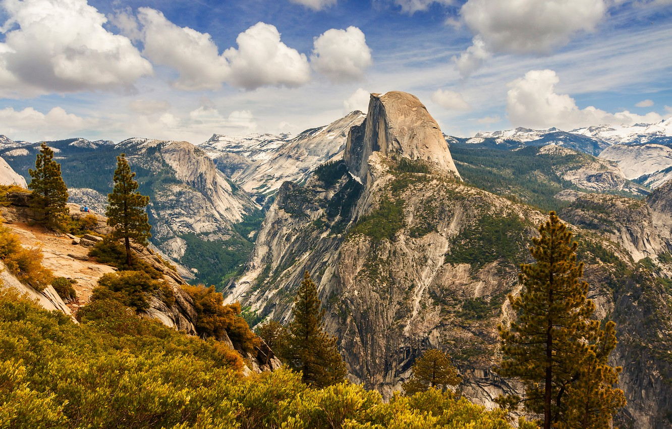 Photo wallpaper forest, the sky, the sun, clouds, trees, mountains, stones, rocks, height, CA, gorge, USA, Yosemite, …