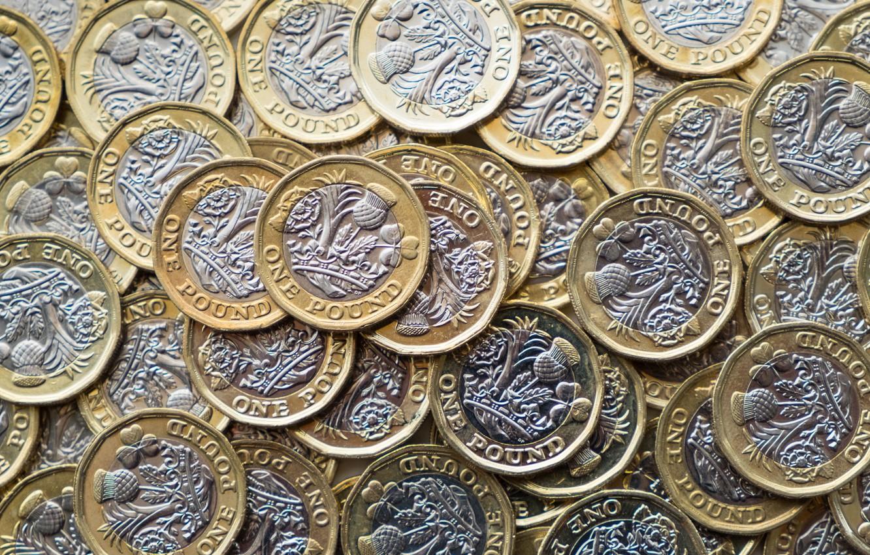 Photo wallpaper silver, metal, gold, coins