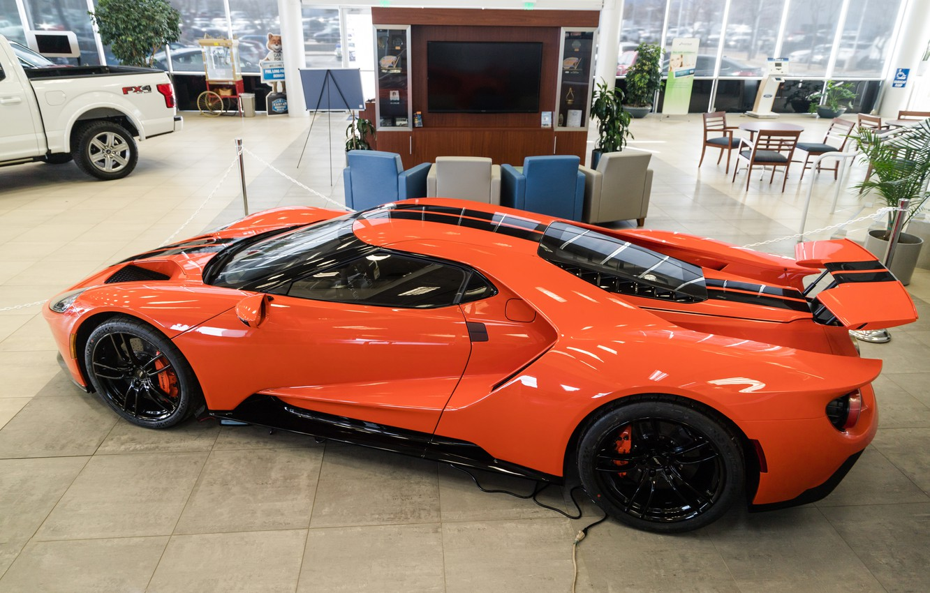 Photo wallpaper orange, Ford GT, sports car, 2020 Ford GT