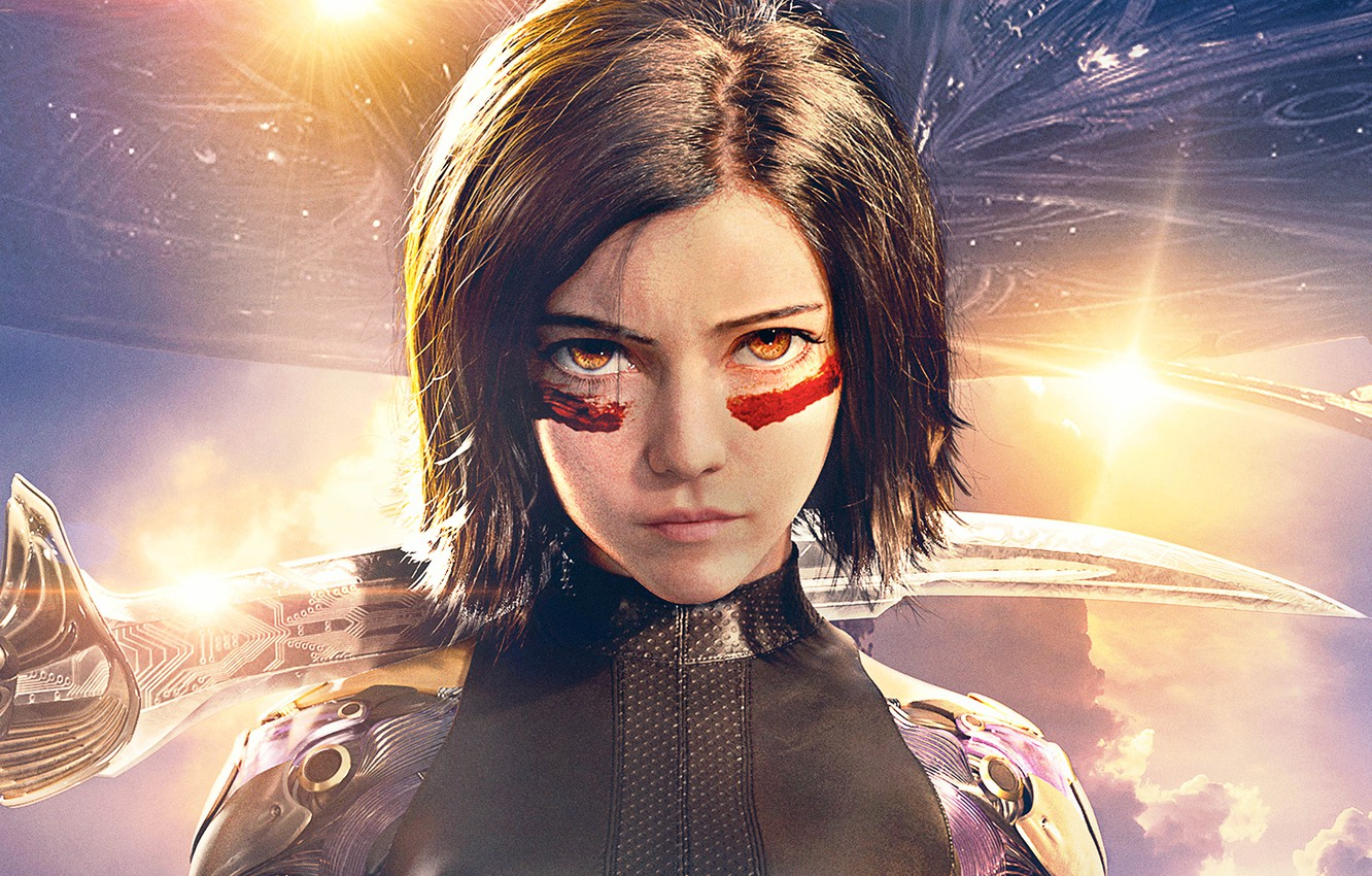 Photo wallpaper the sky, look, girl, the sun, background, fiction, sword, armor, hairstyle, poster, spaceship, Rosa Salazar, ...