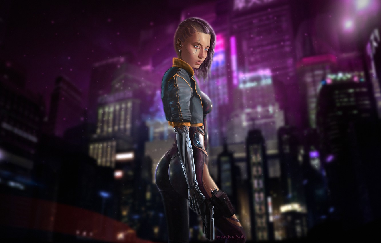Photo wallpaper Girl, Night, The city, Robot, Gun, Neon, Girl, City, Fantasy, Gun, Sexy, Art, Killer, Robot, …