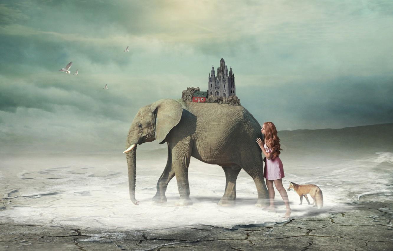 Фото обои девушка, фэнтези, слон, арт, лиса