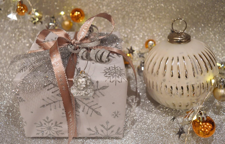 Photo wallpaper balls, lights, holiday, box, gift, Shine, ball, ball, Christmas, tape, New year, beads, gold plated, …