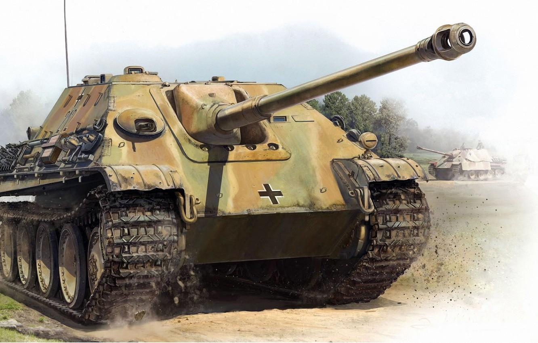 Photo wallpaper SAU, Jagdpanther, Tank fighter, German self-propelled artillery, Jagdpanther, heavy weight