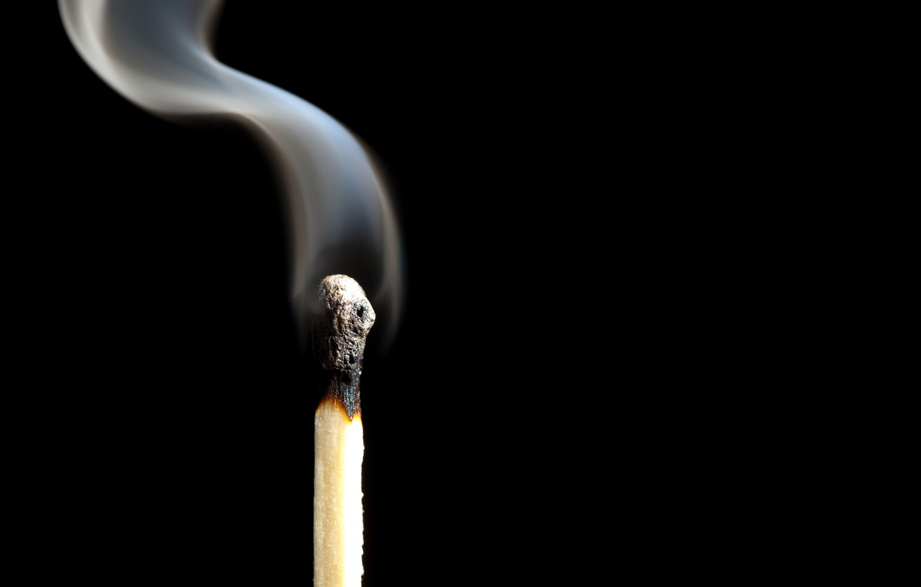 Photo wallpaper smoke, match, phosphorus