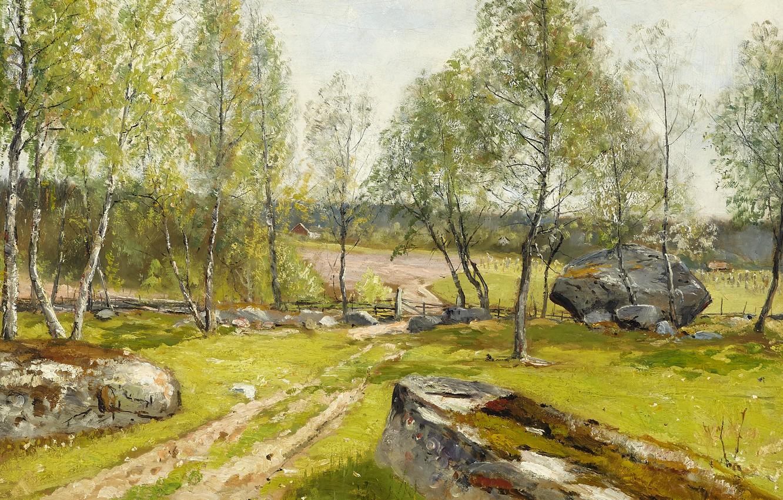 Photo wallpaper 1900, Swedish artist, Swedish painter, Olof Hermelin, Birches in the yard, Birch trees at the …