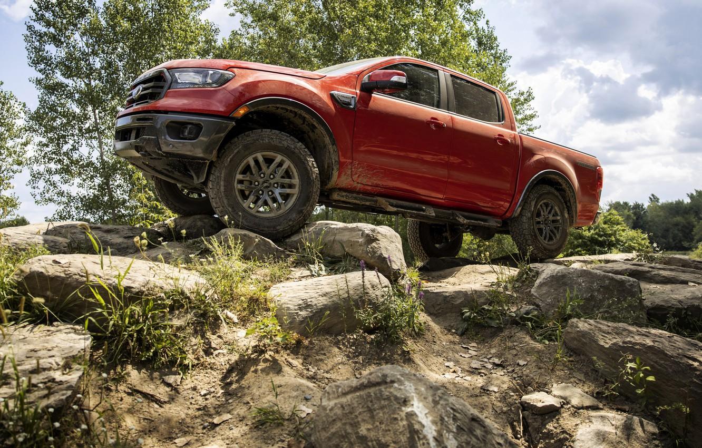 Photo wallpaper stones, vegetation, Ford, pickup, Ranger, Lariat, Tremor, 2021, double cab