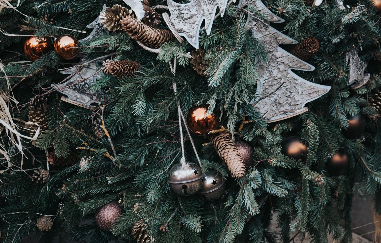 Photo wallpaper holiday, tree, new year, Christmas, ball, decoration, bumps
