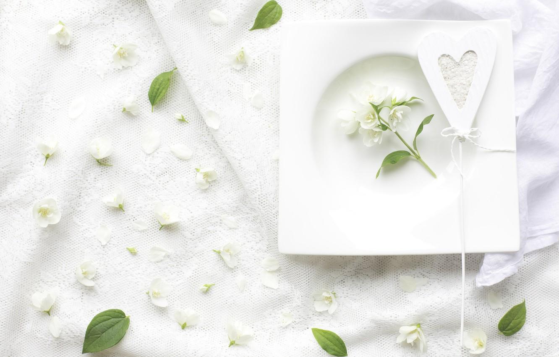 Photo wallpaper white, heart, Jasmine