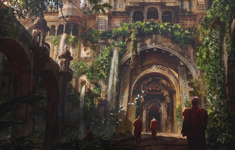 Photo wallpaper road, birds, India, columns, arch, architecture, monks, buddah, by Eddie Mendoza, Buddhist temple