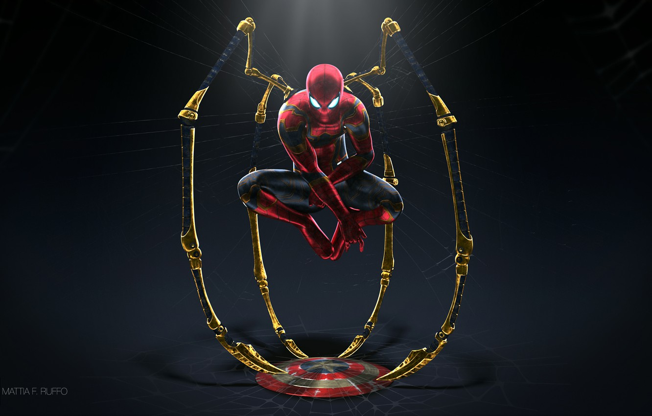 Photo wallpaper fiction, web, art, costume, twilight, shield, superhero, comic, Spider-man, Spider-Man, Iron Spider, Mattia Ruffo