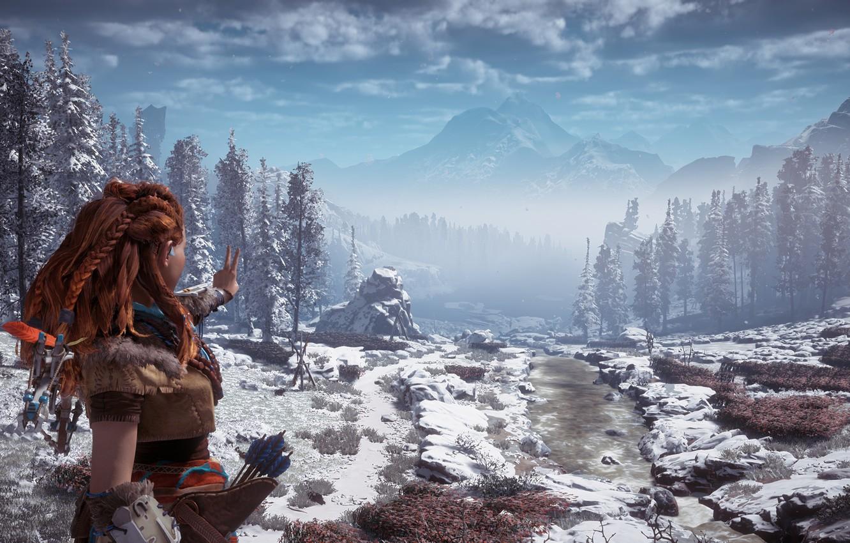 Photo wallpaper mountains, gesture, postapokalipsis, exclusive, winter landscape, Playstation 4, Guerrilla Games, Horizon Zero Dawn, Eloy