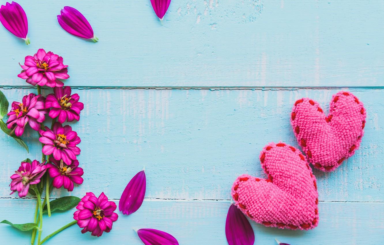 Photo wallpaper love, flowers, heart, love, wood, pink, flowers, romantic, hearts, valentine