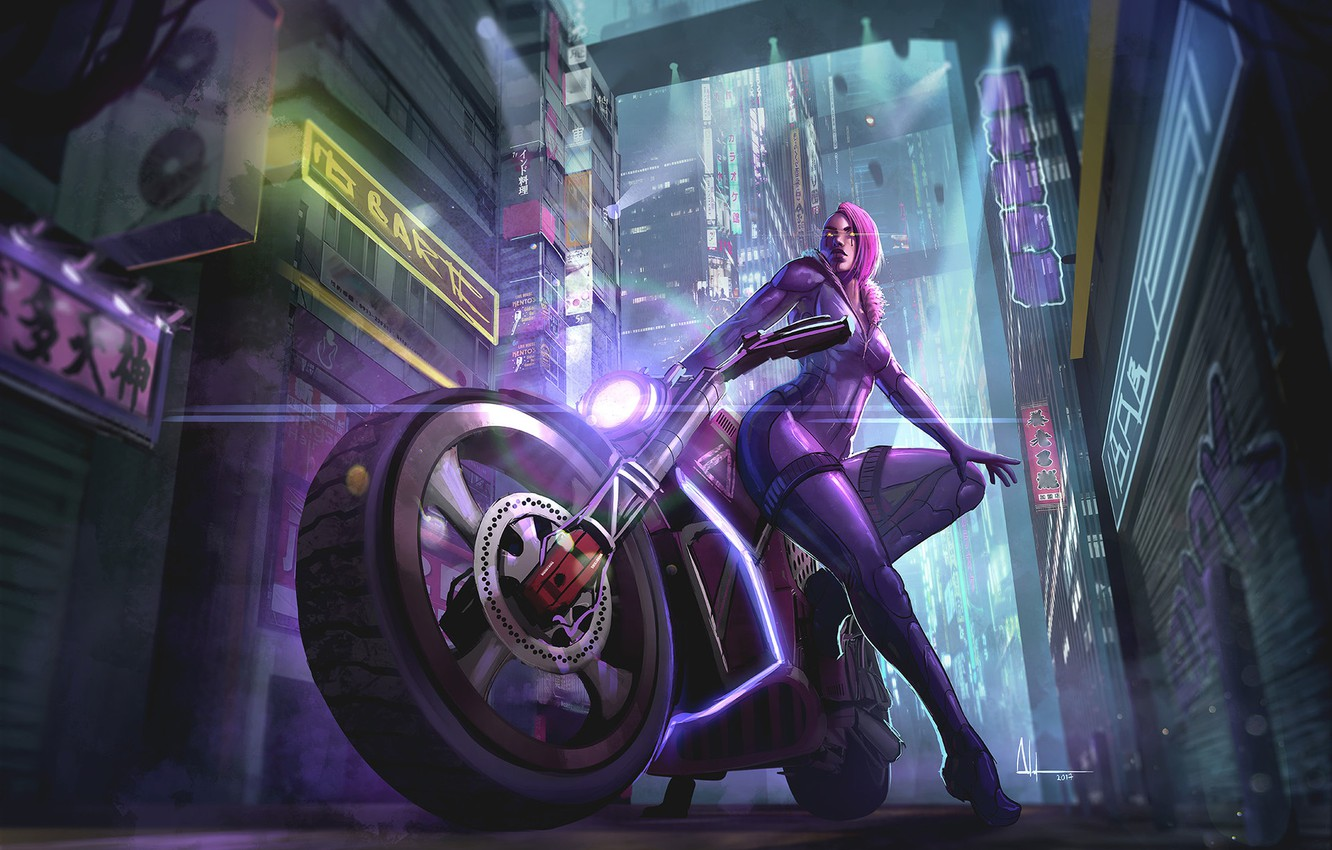 Photo wallpaper Girl, Night, The city, Girl, Motorcycle, City, Punk, Fantasy, Art, Night, Fiction, Bike, Characters, Witch, …