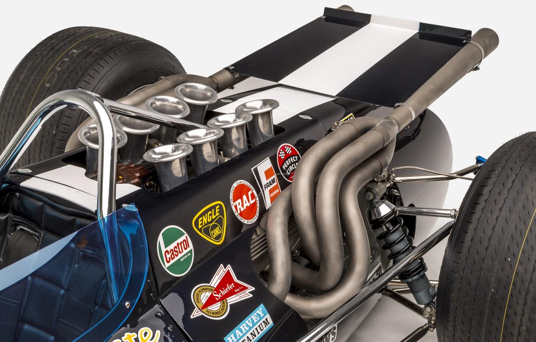 Photo wallpaper Engine, Eagle, 1968, Chrome, Classic car, Sports car, Indianapolis 500, Indianapolis 500-Mile Race, Exhaust manifold, …
