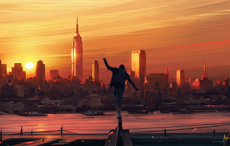 Photo wallpaper Sunset, The sun, Figure, The city, People, Art, Aenami, by Aenami, Alena Aenam The, I'm …