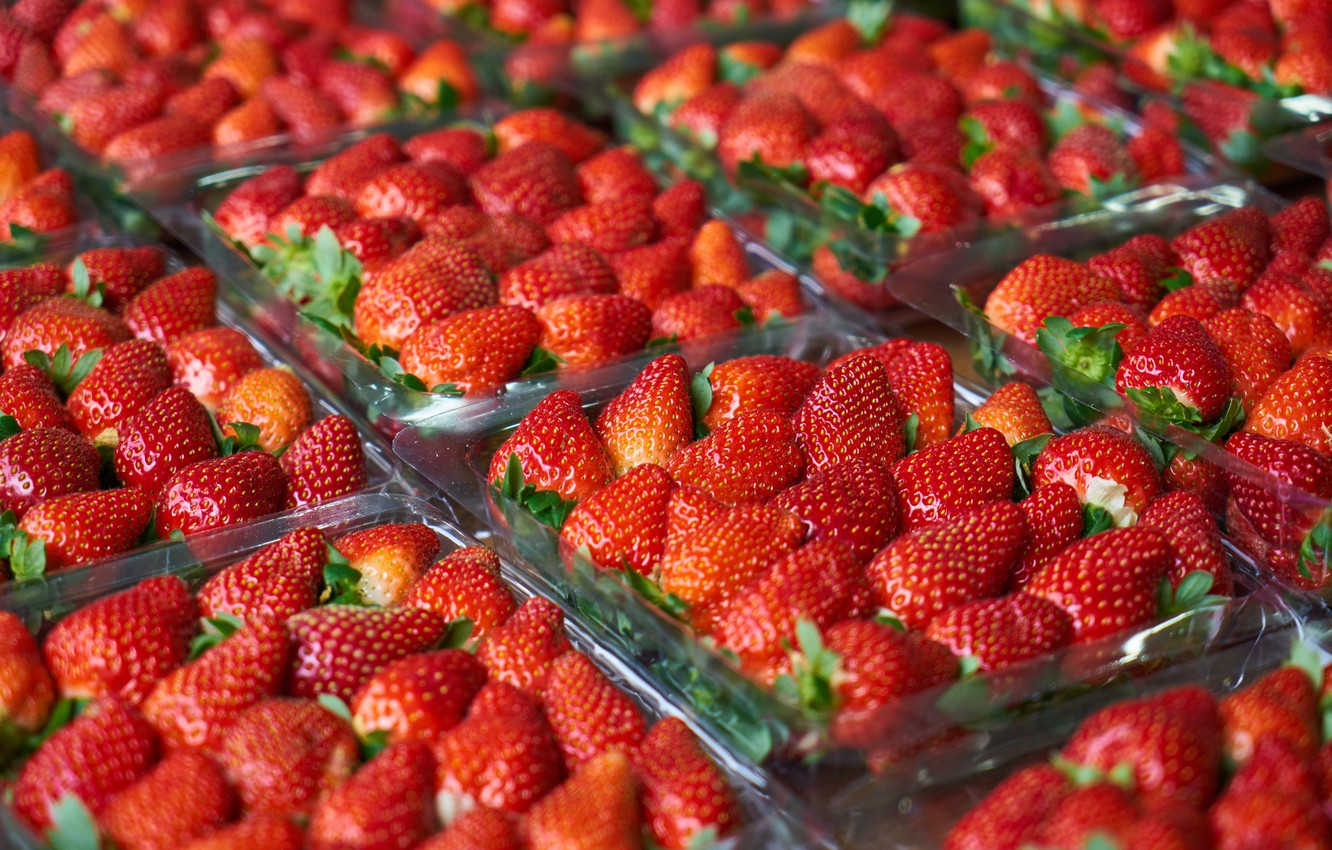 Photo wallpaper berries, strawberry, a lot