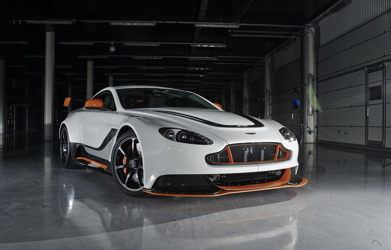 Photo wallpaper Aston Martin, Reflection, Vantage, Wheel, Lights, Car, Drives, V12, Icon, White Color, Grille