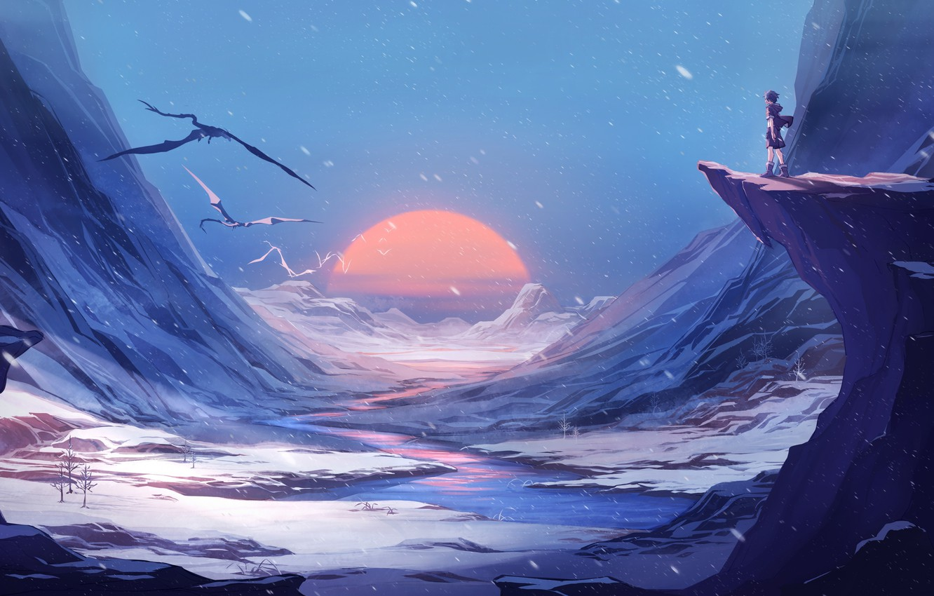 Wallpaper Fantasy Landscape River Sunset Winter Mountains Snow Sun Man Digital Art Artwork Fantasy Art Dragons Fantasy Landscape Images For Desktop Section Fantastika Download