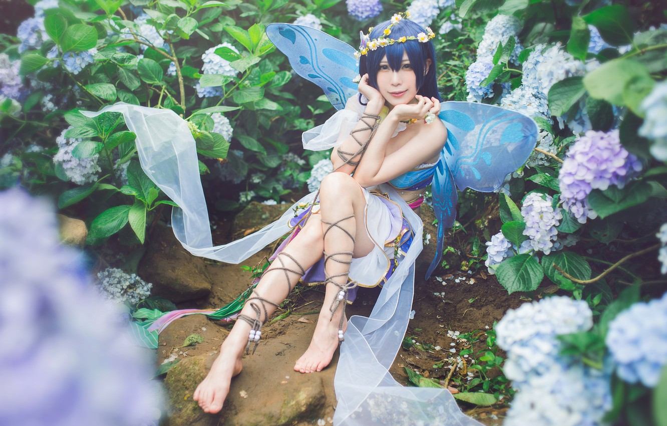 Photo wallpaper summer, look, girl, flowers, face, pose, smile, style, stones, background, feet, elf, wings, rope, hands, …