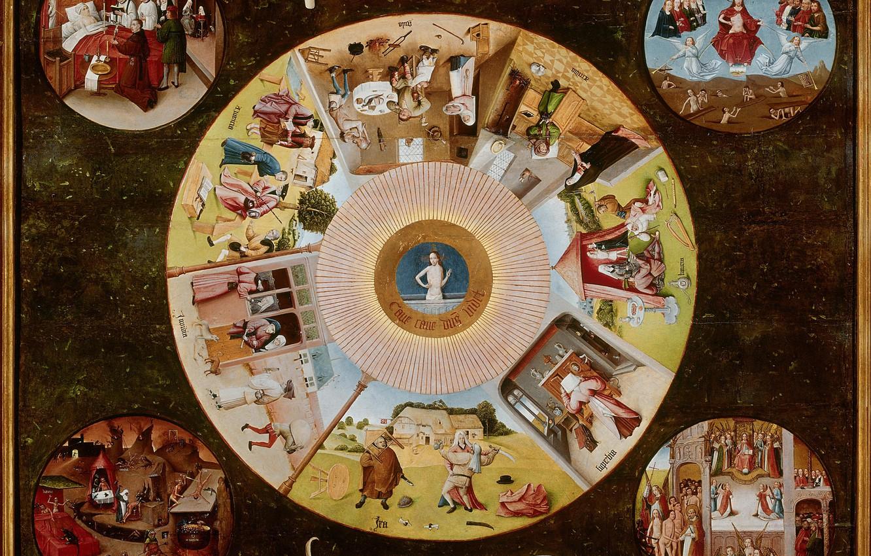 Photo wallpaper countertop, The seven deadly sins, Hieronymus Bosch, 1480-1485