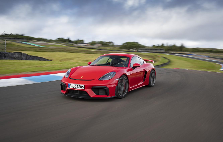 Photo wallpaper Porsche, Speed, Asphalt, Cayman, Track, GT4, 2019, Porsche 718 (982) Cayman GT4