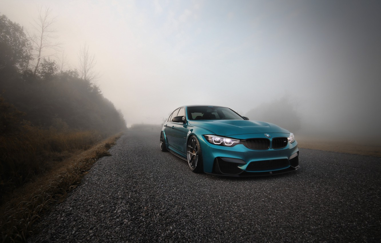 Photo wallpaper BMW, Blue, Fog, F80, Sight, LED