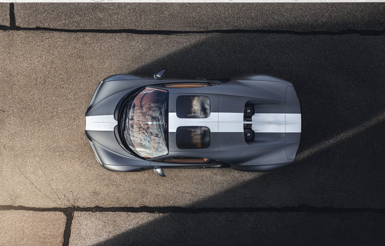 Photo wallpaper Bugatti, the view from the top, Sport, W16, Chiron, spezzare, 2021, матово-серый, Les Légendes du …