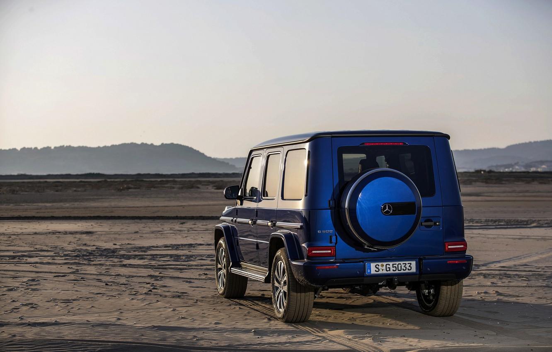 Wallpaper sand, blue, traces, Mercedes-Benz, SUV, 4x4, 2018