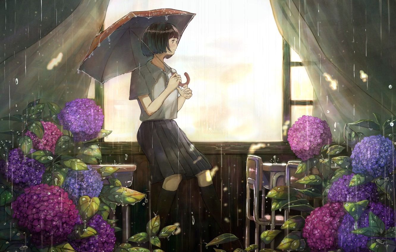 Photo wallpaper girl, room, rain, hydrangea