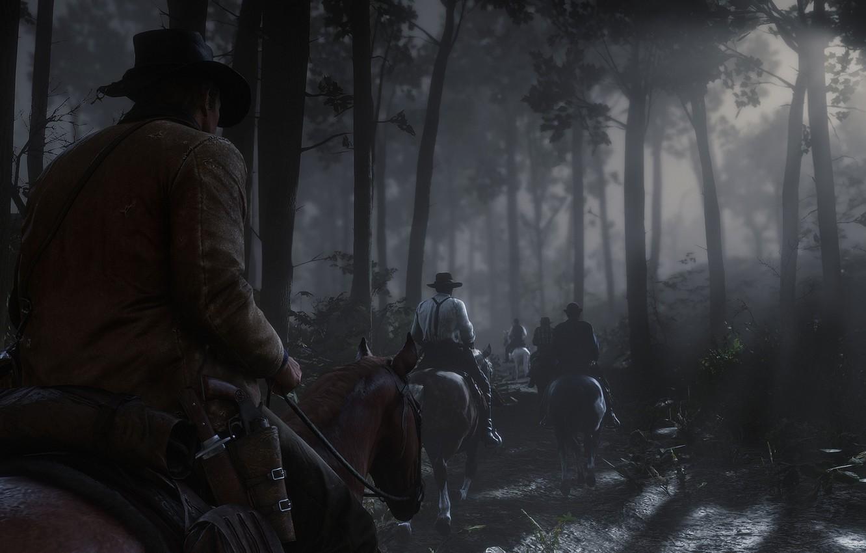 Photo wallpaper forest, night, horse, hat, Rockstar, Bandit, Red Dead Redemption 2, Arthur Morgan