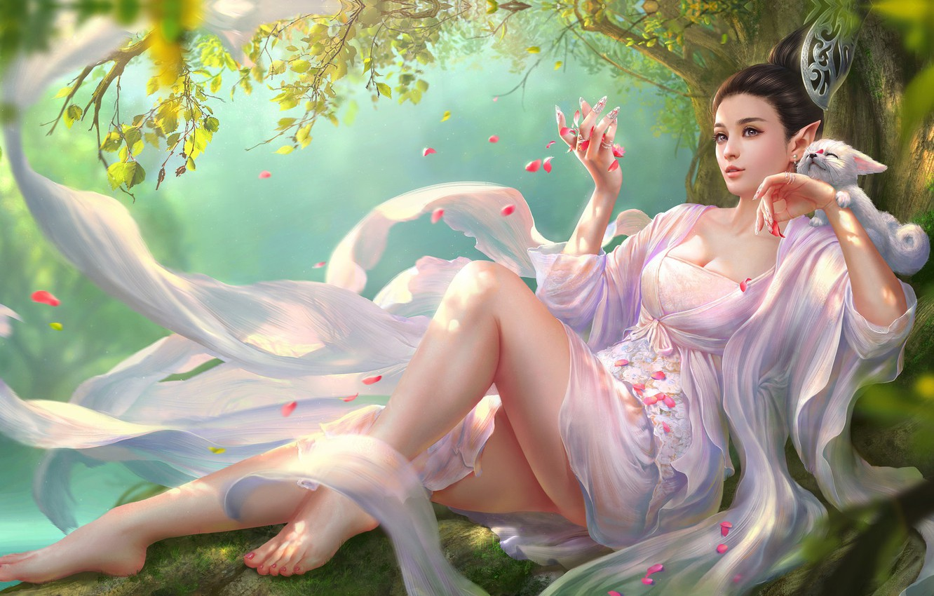 Photo wallpaper fantasy, art, tian zi, Green hill Fox legend-Tao hang