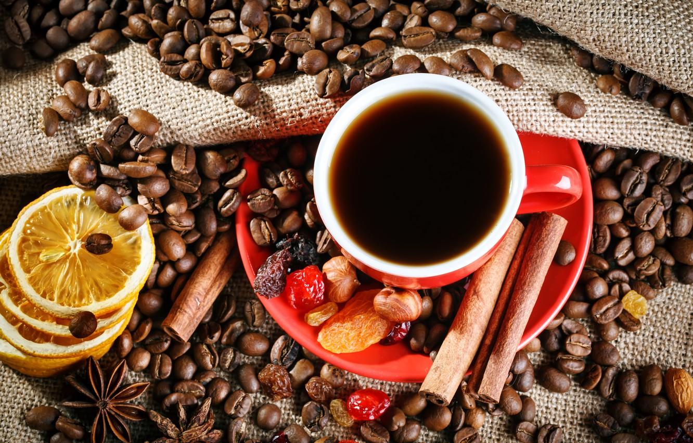 Photo wallpaper lemon, coffee, Cup, cinnamon, coffee beans, spices