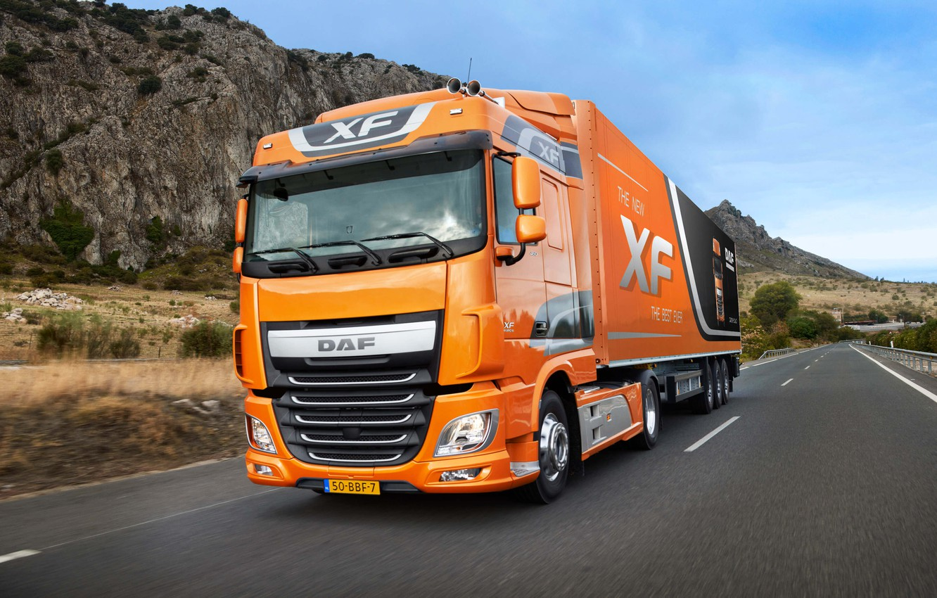 Photo wallpaper road, asphalt, mountains, orange, cabin, the trailer, tractor, DAF, the truck, DAF XF, long-haul tractor