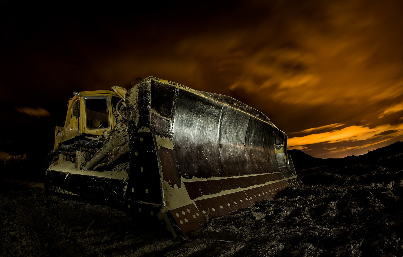 Photo wallpaper machine, night, excavator
