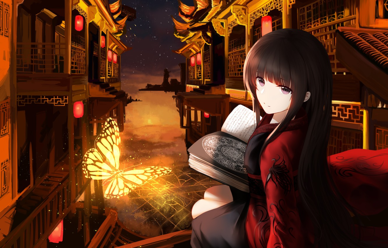 Photo wallpaper Girl, Night, The city, Butterfly