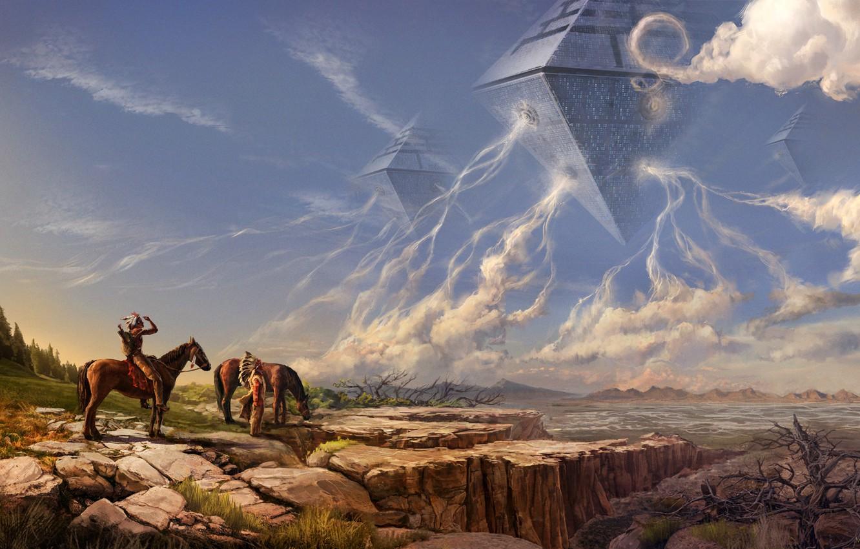 Photo wallpaper fantasy, nature, science fiction, sci-fi, men, horse, artist, spaceships, artwork, fantasy art, riders, Mark Akopov, …