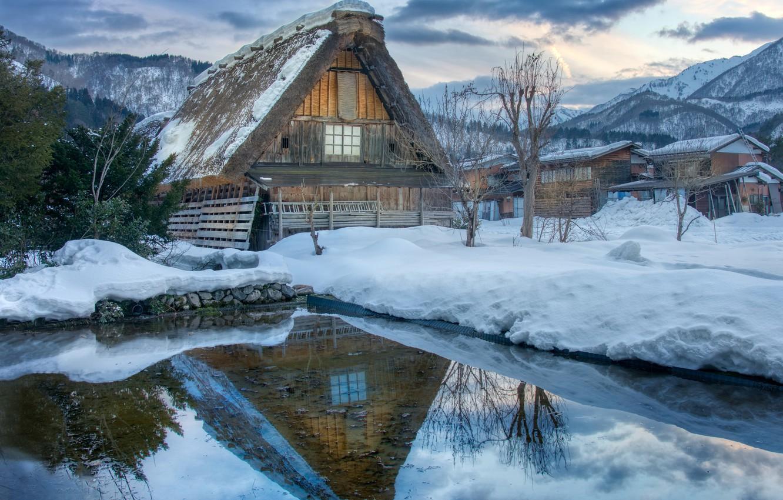 Photo wallpaper winter, water, snow, clouds, house, village, Japan, Shirakawa-go