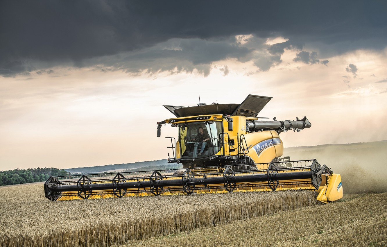 Photo wallpaper The sky, Field, 2018, Harvester, New Holland, Psenica, New Holland CR10.90 Revelation