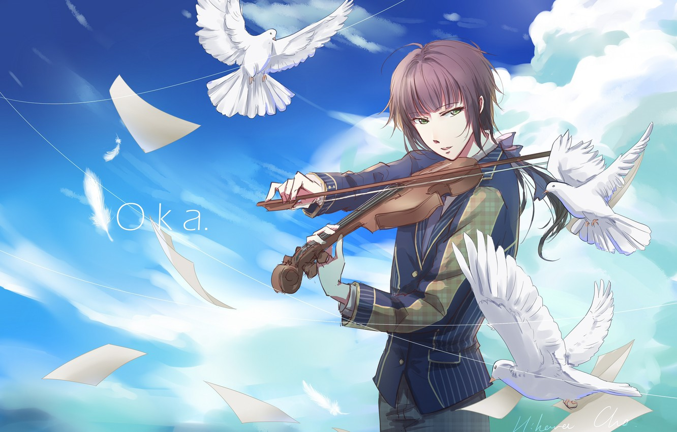 Photo wallpaper violin, the game, dove, anime, guy, 100 Sleeping Princes and the Kingdom of Dreams