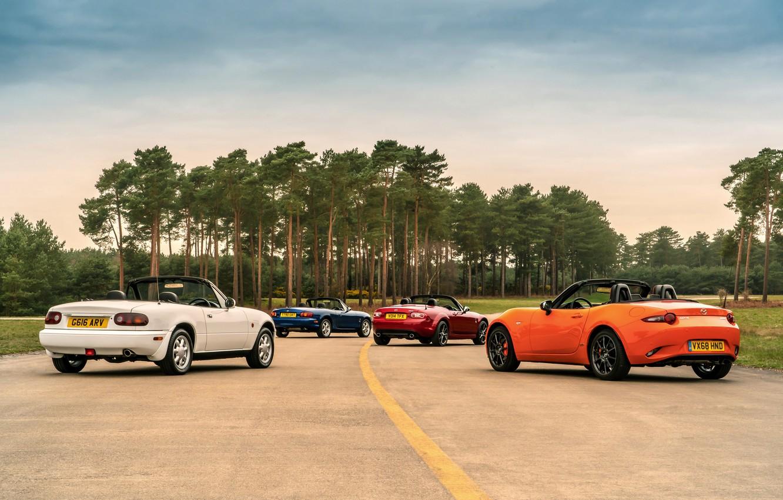 Photo wallpaper road, Mazda, MX-5, roadsters, four generations (NA-NB-NC-ND)