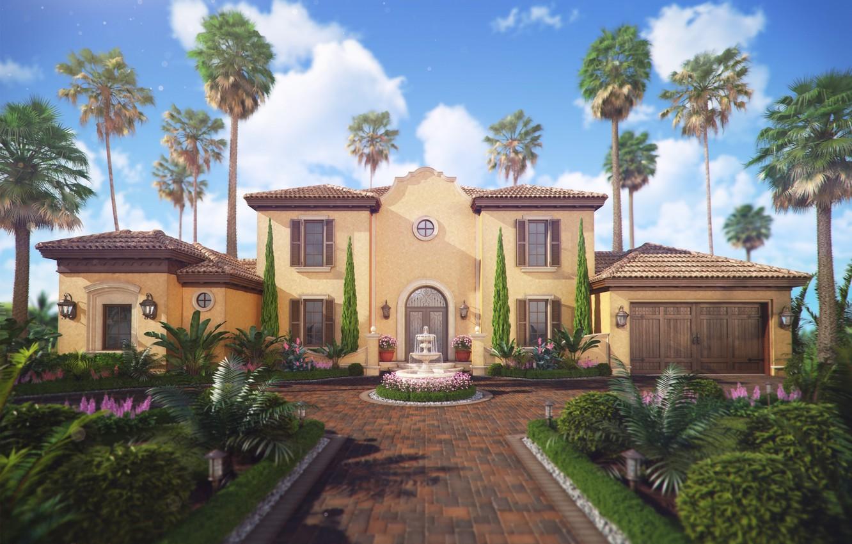 Photo wallpaper pavers, yard, fountain, structure, Spain Villa De La Rosa