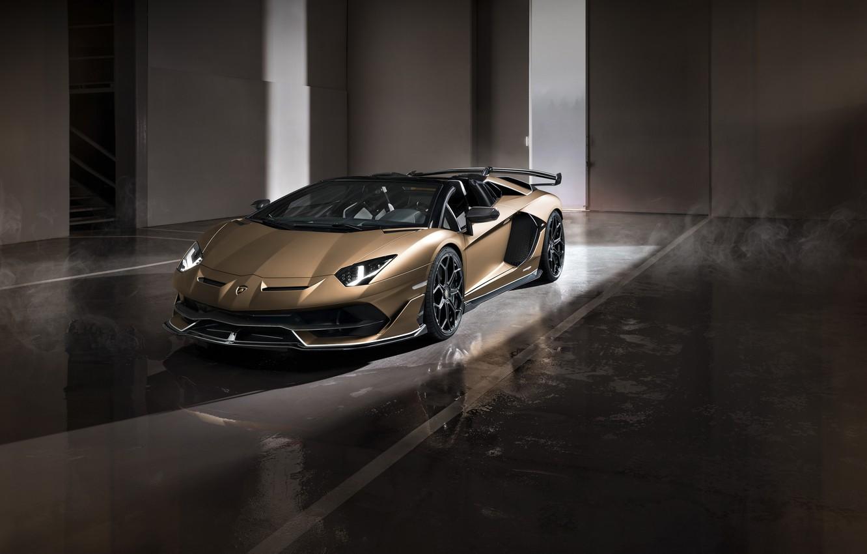 Photo wallpaper machine, light, lights, Lamborghini, gate, sports car, boxes, roadster, Aventador, SVJ