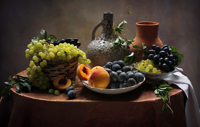 Photo wallpaper grapes, still life, peaches